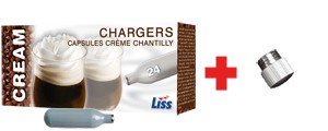 Free Decorator Tip Base with the Purchase of a box of 24 Whipped Cream Chargers